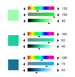"It might seem intimidating to look at, but the idea is that if you look at the ""rainbow slider"" which is our Hue. the slider is gradually moving to blue as it gets darker."